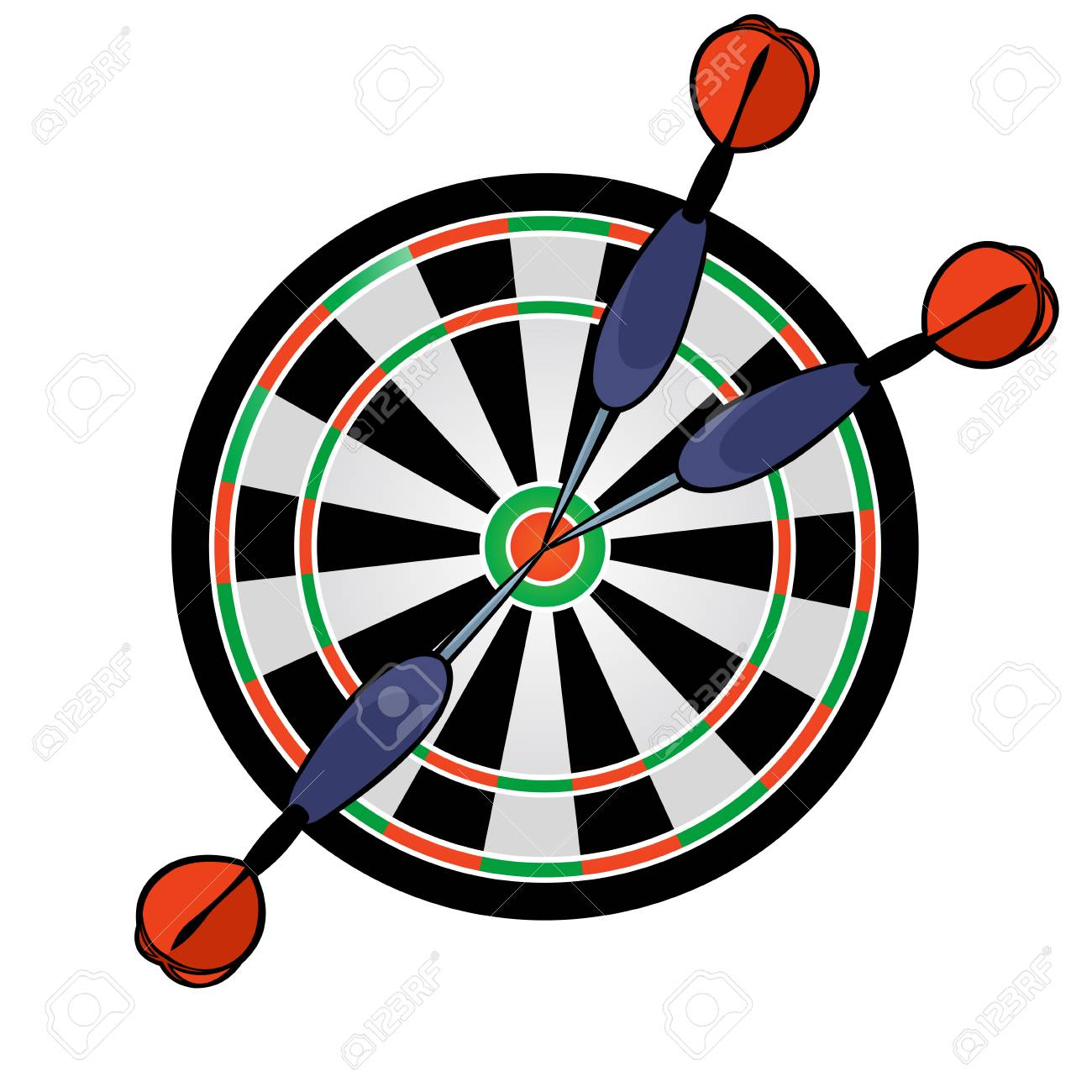 97617622-cartoon-dartboard-with-darts-hitting-in-the-target-on-white-background